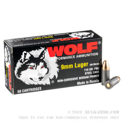 1000 Rounds of 9mm Ammo by Wolf Performance - 115gr FMJ