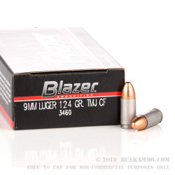 50 Rounds of 9mm Ammo by Blazer - 124gr TMJ