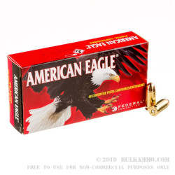 50 Rounds of .45 ACP Ammo by Federal American Eagle - 230gr FMJ