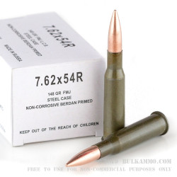500  Rounds of 7.62x54r Ammo by Wolf - 148gr FMJ
