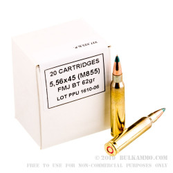 1000 Rounds of 5.56x45 M855 Ammo by Prvi Partizan - 62 Grain FMJBT
