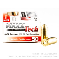 50 Rounds of .45 ACP Ammo by MAXX Tech - 230gr FMJ