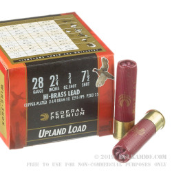 """25 Rounds of 28ga Ammo by Federal Wing-Shok High Velocity - 2-3/4"""" 3/4 ounce #7 1/2 shot"""