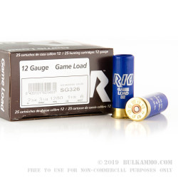 """25 Rounds of 12ga Ammo by Rio Game Load - 2-3/4"""" 1 1/8 ounce #6 shot"""