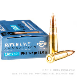 20 Rounds of 7.62x39mm Ammo by Prvi Partizan - 123gr FMJ