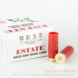 250 Rounds of 12ga Ammo by Estate Cartridge - 1 1/8 ounce #7 1/2 shot