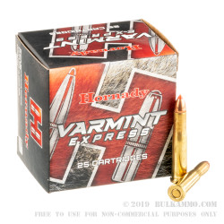 25 Rounds of .22 Hornet Ammo by Hornady - 35 gr V-Max