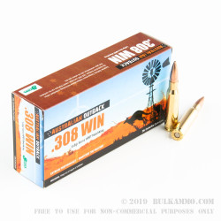 200 Rounds of .308 Win Ammo by ADI - 168gr Sierra MatchKing HPBT