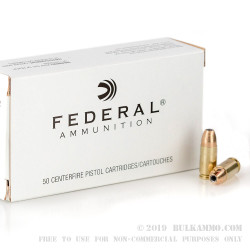 1000 Rounds of 9mm Ammo by Federal - 115gr JHP HI-SHOK