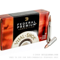 20 Rounds of 30-06 Springfield Ammo by Federal Vital-Shok - 165gr Nosler Partition SP