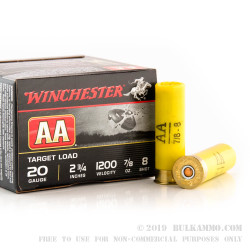 """25 Rounds of 20ga 2-3/4"""" Ammo by Winchester - 7/8 ounce #8 shot"""