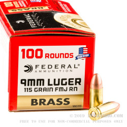 100 Rounds of 9mm Ammo by Federal Champion Brass - 115gr FMJ