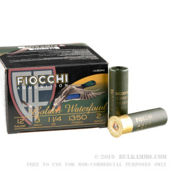 """25 Rounds of 12ga Ammo by Fiocchi - 3"""" 1 1/4 ounce #2 Steel Shot"""