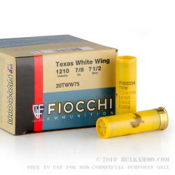"""250 Rounds of 20 Gauge 2-3/4"""" Ammo by Fiocchi Texas Dove Load - 7/8 ounce #7 1/2 shot"""