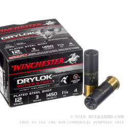 """25 Rounds of 12ga 3"""" Ammo by Winchester Drylok Super Steel High Velocity - 1 1/4 ounce #4 shot"""