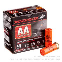 """25 Rounds of 12ga Ammo by Winchester TrAAcker Orange - 2-3/4"""" 1-1/8 ounce #9 shot"""