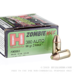 25 Rounds of .380 ACP Ammo by Hornady - 90gr Zombie Z-Max FTX