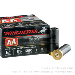"25 Rounds of 12ga 2-3/4"" Ammo by Winchester AA Lite Handicap - 1 ounce #8 shot"
