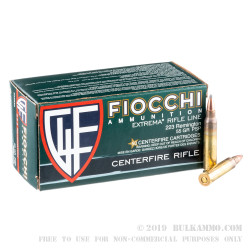 50 Rounds of .223 Rem Ammo by Fiocchi - 55gr PSP