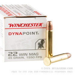 50 Rounds of .22 WMR Ammo by Winchester Dynapoint - 45 gr CPHP