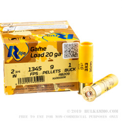 25 Rounds of 20ga Ammo by Rio Ammunition -  #1 Buck