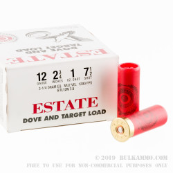 25 Rounds of 12ga Ammo by Estate Cartridge - 1 ounce #7 1/2 shot