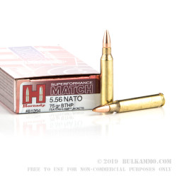 200 Rounds of 5.56x45 Ammo by Hornady Superformance Match - 75gr HPBT