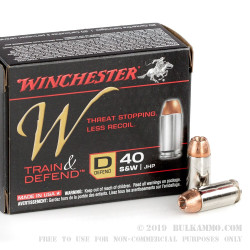 20 Rounds of .40 S&W Ammo by Winchester Train & Defend - 180gr JHP