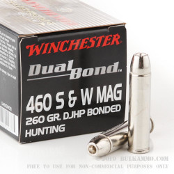 20 Rounds of .460 S&W Ammo by Winchester - 260gr JHP