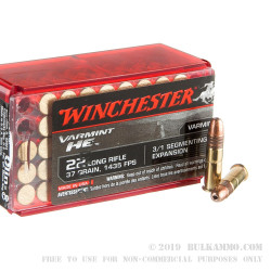 1000 Rounds of .22 LR Ammo by Winchester Varmint HE - 37 gr 3/1 Segmention HP