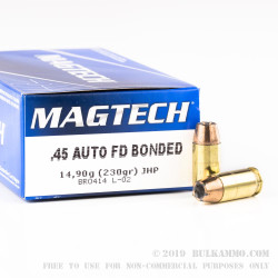 50 Rounds of .45 ACP Ammo by Magtech - 230gr Bonded JHP