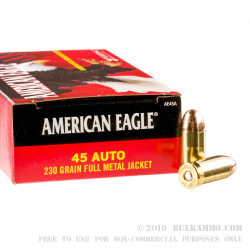 1000 Rounds of .45 ACP Ammo by Federal American Eagle - 230gr FMJ