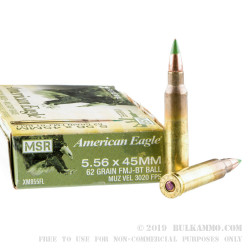 500 Rounds of 5.56x45 Ammo by Federal American Eagle - 62gr FMJ XM855