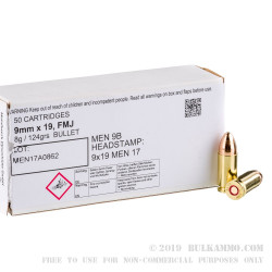 50 Rounds of 9mm Ammo by MEN - 124gr FMJ