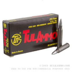 20 Rounds of .223 Ammo by Tula - 62gr FMJ
