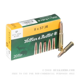20 Rounds of 8x57mm JR Mauser Ammo by Sellier & Bellot - 196gr SP