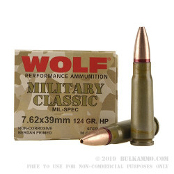 20 Rounds of 7.62x39mm Ammo by Wolf - 124gr HP