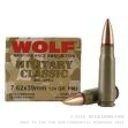 20 Rounds of 7.62x39mm Ammo by Wolf - 124gr FMJ