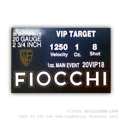25 Rounds of 20ga Ammo by Fiocchi - 1 ounce #8 shot - Target