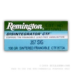 50 Rounds of .357 SIG Ammo by Remington Disintegrator - 100 gr Frangible