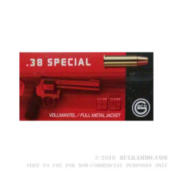1000 Rounds of .38 Spl Ammo by GECO - 158gr FMJ