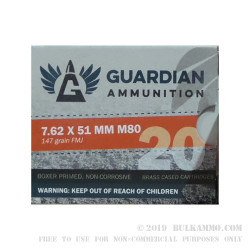 640 Rounds of 7.62x51mm Win Ammo by Guardian Ammunition - 147gr FMJ