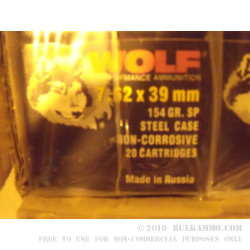 1000 Rounds of 7.62x39mm Ammo by Wolf - 154gr SP