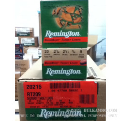 250 Rounds of 20ga Target Ammo by Remington - 7/8 ounce #9 shot