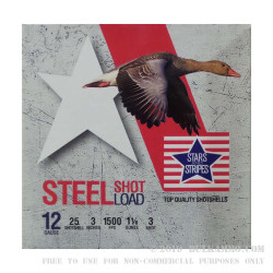 """250 Rounds of 12ga Ammo by Stars & Stripes - 3"""" 1 1/8 ounce #3 Steel Shot"""