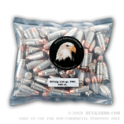 100 Rounds of .357 SIG Ammo by MBI - 124gr FMJFN