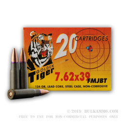 1000 Rounds of 7.62x39mm Ammo by Golden Tiger - 124gr FMJBT
