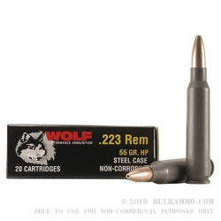 1000 Rounds of .223 Ammo by Wolf - 55gr HP