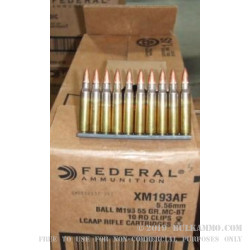 900 Rounds of XM193 5.56x45 Ammo by Federal - 55gr FMJBT Loaded on Stripper Clips