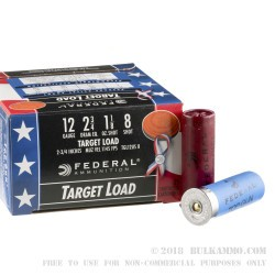 250 Rounds of 12ga Wounded Warrior Ammo by Federal Top Gun - 1 1/8 ounce #8 shot